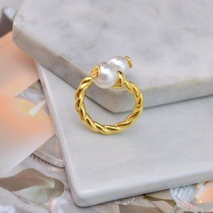 Tory Burch Gold Braided Pearl Open Ring
